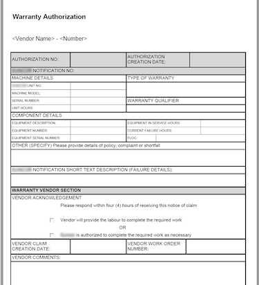 SR Supplier Recovery Authorization Form SAP