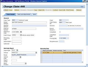 Picture 1: Dealer Portal Warranty Claim example in change mode