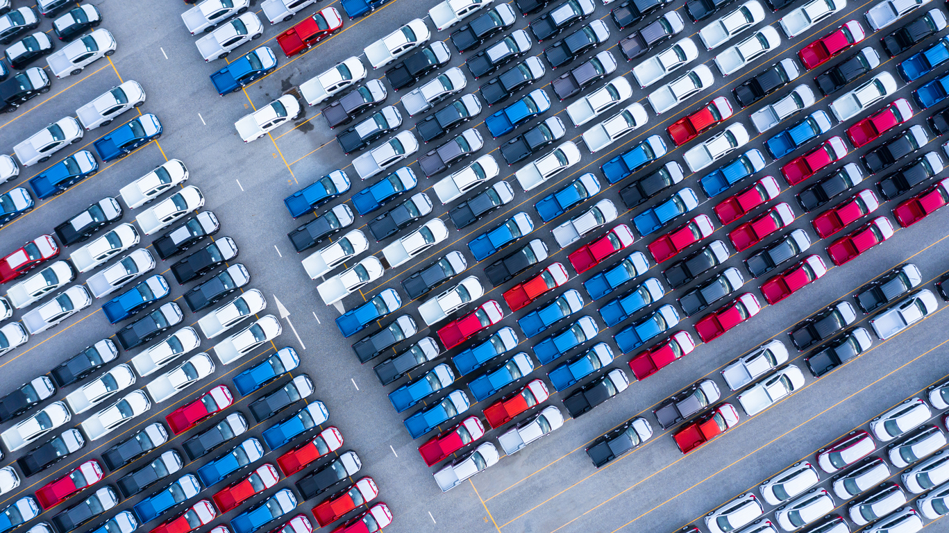 aerial view parked cars